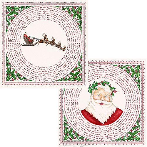 "- Literary Calligraphy ""The Night Before Christmas"" Pair of 2 Christmas Art Prints by Susan Loy"