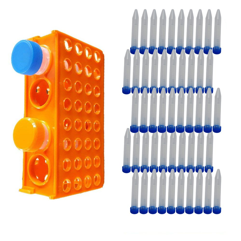 Eagles Plastic Multi-Size 4-Way Centrifuge Tube Rack Test Tube Rack,80 Wells + Pack of 50 Conical Bottom 15ml Plastic Centrifuge Tubes with Blue Screw Cap and Graduated Marks by Eagles