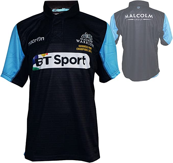 Macron Glasgow Warriors Home Rugby Jersey Negro Rugby Union League ...