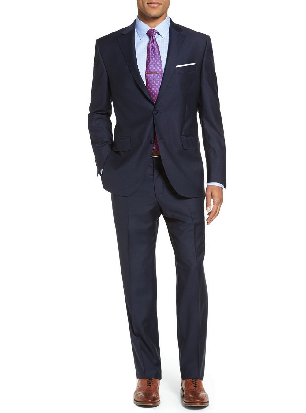 Luciano Natazzi Men's Modern Fit Two Button Faint Tone On Tone Stripe Navy Suit (42 Long US / 52 Long EU)