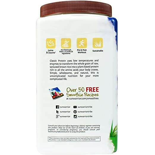 SUNWARRIOR Natürliches Reisprotein Schokolade, 1er Pack (1 x 1000 g ...