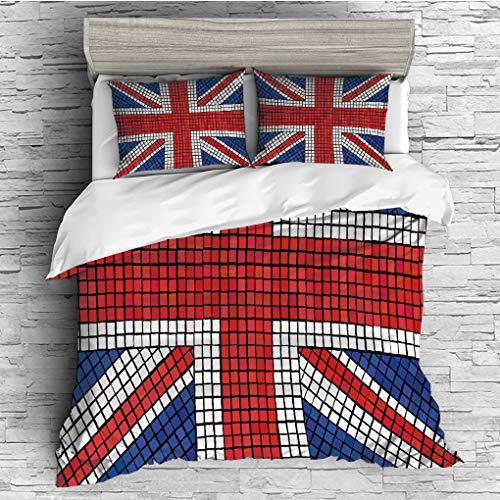 Juego de cama de 3 piezas (1 funda de edredón y 2 fundas de almohada), para todas las estaciones, juego de ropa de cama para...