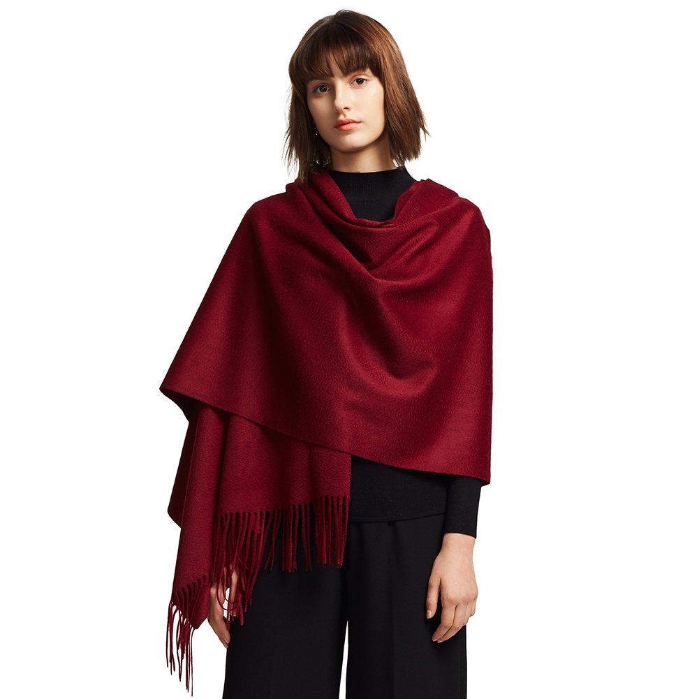 STORY OF SHANGHAI Womens Large Soft 100% Cashmere Scarf Luxury Warm Winter Shawl Wraps Stole Scarf Blanket Scarf (Burgundy)