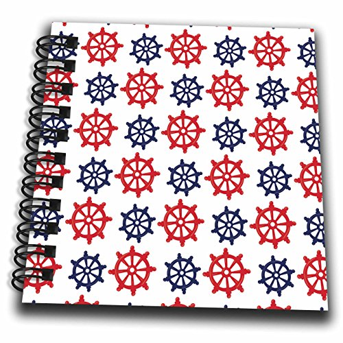 3dRose Anne Marie Baugh - Patterns - Cute Red and Blue Nautical Sailing Boat Wheel Pattern - Mini Notepad 4 x 4 inch (db_274136_3)