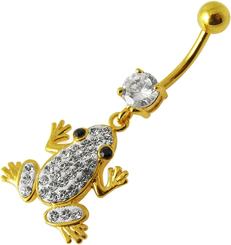 Gold Plated Clear Gems Fancy Frog Sterling Silver Dangling Belly Ring