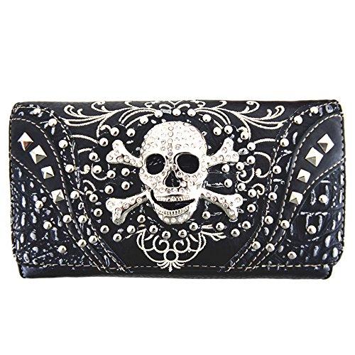 Western Style Sugar Skull Studded Country Purse Single Shoulder Bag Clutch Women Blocking Wristlet Wallet (Studded Wristlet Clutch)