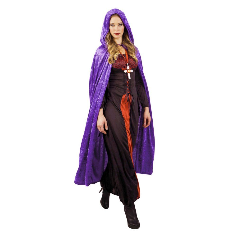 JZK® hombres mujerescapucha capaterciopelo largo capa con capuchacapa de tippet para la fiesta de disfraces de halloween traje vampiro traje vampiro diablo bruja (púrpura)