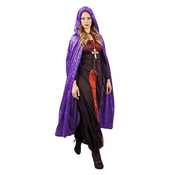 JZK Púrpura Largo Capa con Capucha Terciopelo Vampiro Disfraz de Halloween para Mujeres Hombres Cosplay Disfraz Halloween Fiesta Disfraces