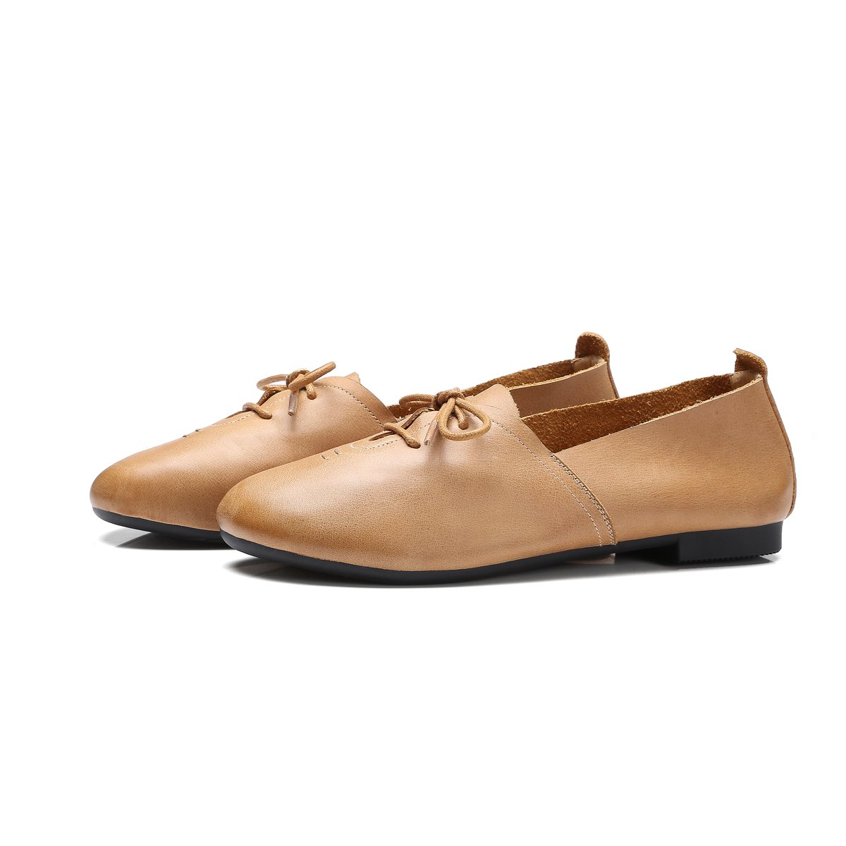 Womens Beautiful Sweet Genuine Leather Flats Shoes Comfortable Soft Simple Design Round Toe Shoes Women