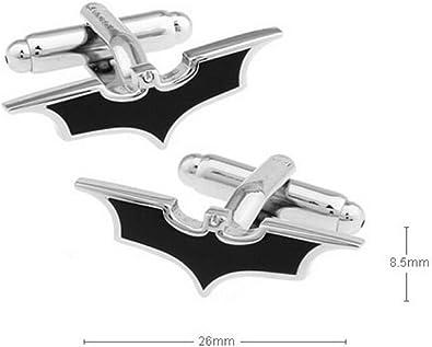 Covink® Negro Batman Mark Metal Gemelos hombres de la camisa francesa Enlaces de puño para el novio vestido de novia