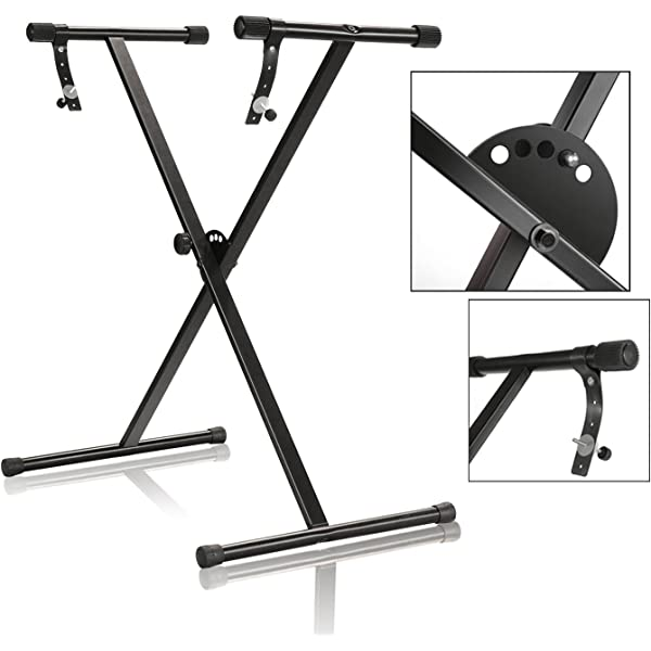 Portable Single-X Keyboard Stand with Locking Straps APL1157 One-Tier