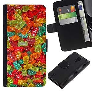 A-type (Gummy Bear Candy Sweets Food Colors) Colorida Impresión Funda Cuero Monedero Caja Bolsa Cubierta Caja Piel Card Slots Para Samsung Galaxy S4 IV I9500