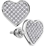 Details about  /Diamond Concave Heart 925 Sterling Silver Womens Screwback Stud Earrings 1//20