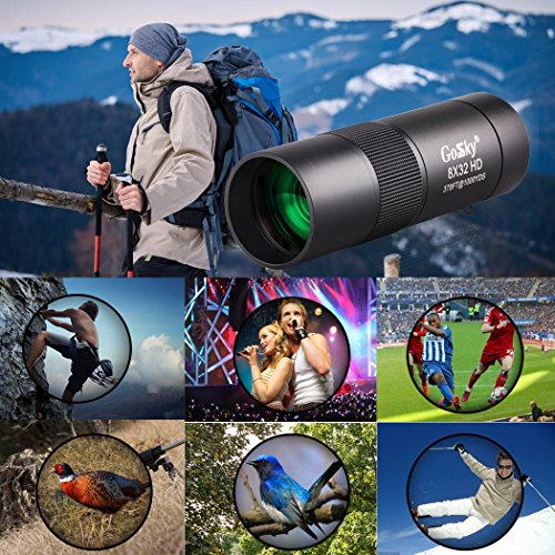 Gosky 8x32 Metal Monocular Telescope, HD Compact Monocular for Bird Watching Sports Travelling Camping Hiking Hunting and Outdoor Activities (Black Pocket Size) by Gosky (Image #2)