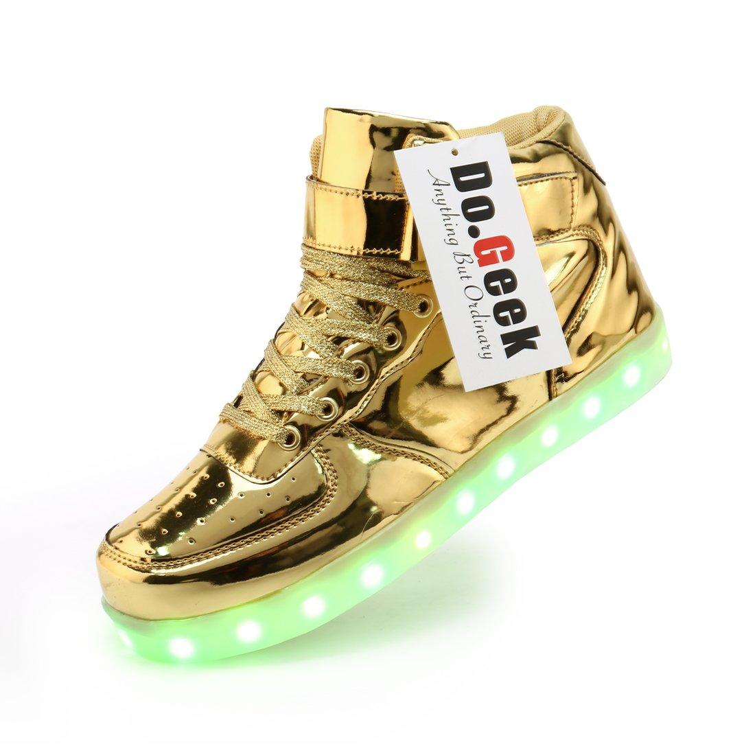 DoGeek Unisex Light up Shoes for Adult 7 Colors Lights High Tops (Choose Half Size up) (10.5 B(M) US Women/7.5 D(M) US Men, Gold)