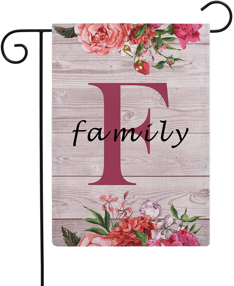"""ULOVE LOVE YOURSELF Flowers Small Garden Flags with Monogram Letter F"""" Family"""" Double Sided Burlap Garden Flags 12.5×18 Inch for House Yard Patio Outdoor Decor(F)"""