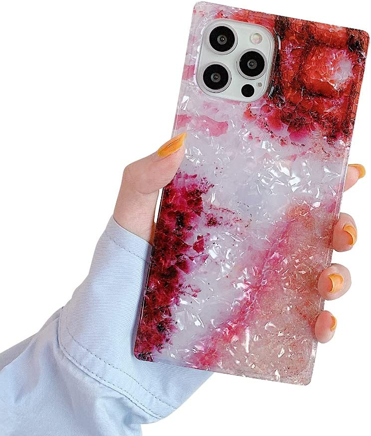 SUYACS Square Case Compatible with iPhone 12 Pearl Crystal Glitter Gradient Red Slim Soft TPU Silicone Protective Bumper Ultra-Thin Anti-Fall Back Cover for Apple 12 Pro 6.1-inch