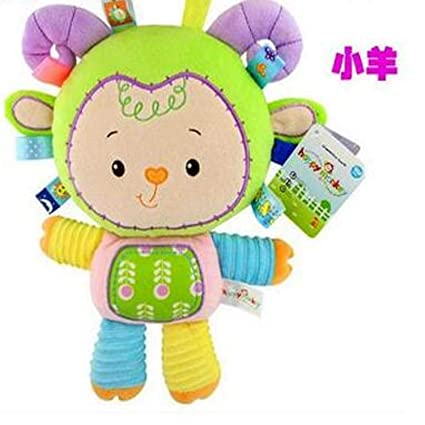 JEWH Plush Baby Toys Appease Infants Teddy Appease Towel Grasping Rattles BB Multifunctional Brinquedos (Sheep