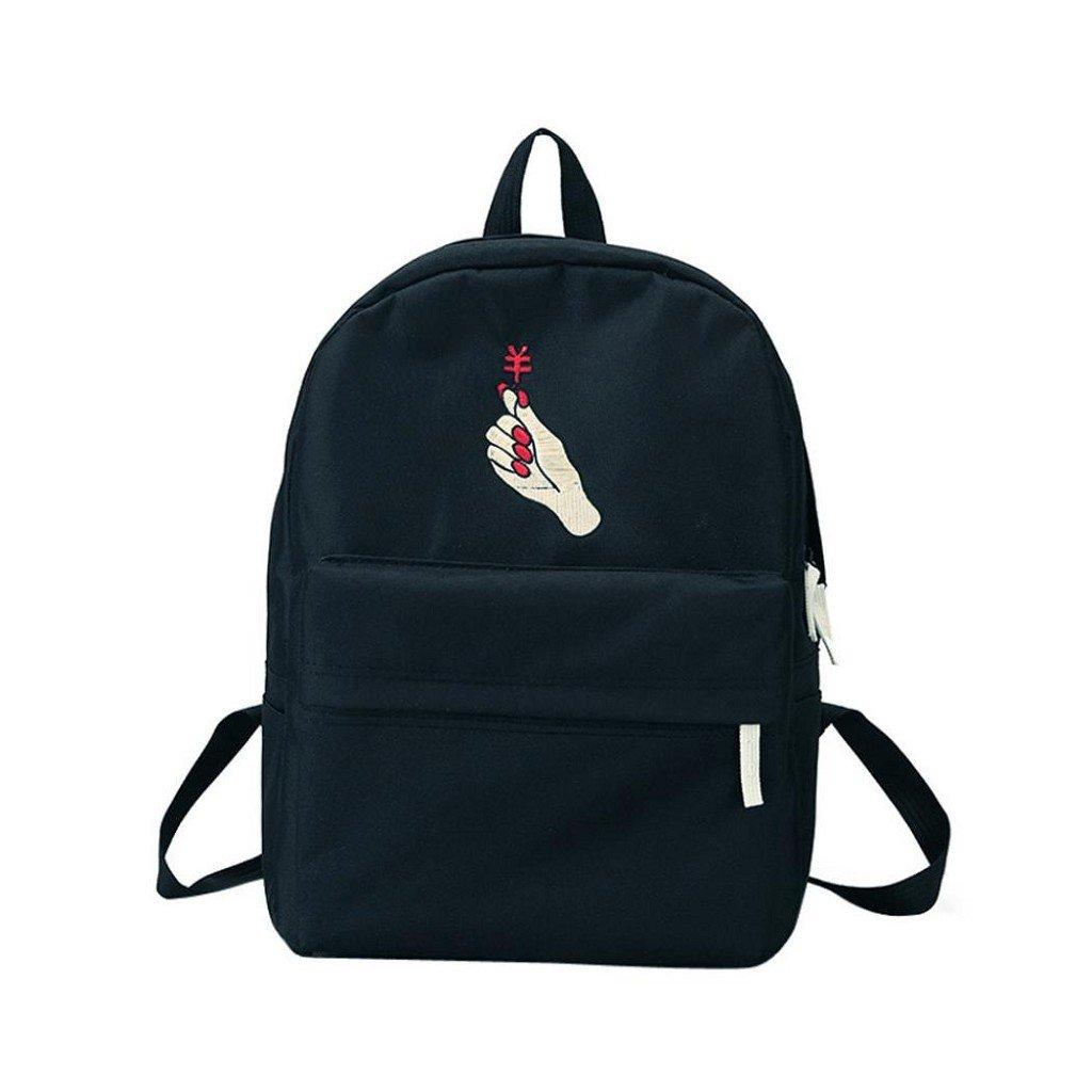 Creazrise Women Backpack,Women Embroidered Roses Backpack Solid Color Canvas Shoulder Bag (Black)