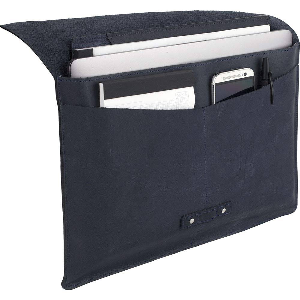 """SLATE COLLECTION Belltown Laptop Sleeve, Full-Grain Leather (Indigo, fits 15"""" Laptop) by SLATE COLLECTION (Image #4)"""