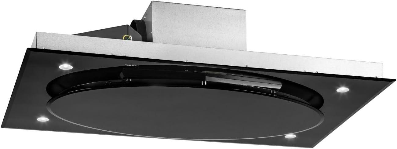 KLARSTEIN Secret Service - Campana extractora de Techo, Potencia 220W, Capacidad 800 m3/h Extracción, Control Touch Cristal, Iluminación LED, 3 Niveles, Acero Inoxidable