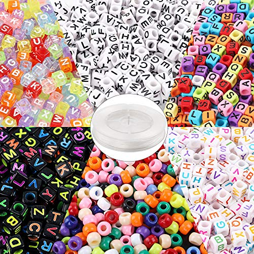 Quefe 1400pcs Jewelry Making Beads Kit Letter Beads and Large Hole Beads in 6 Styles with 50 Meters Elastic String for Bracelets, Necklaces, Key Chains and Other Jewelry - Pack 50 Beads