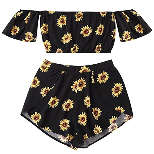 58c1f57891 Hot Sale!Women Sexy Two Piece Romper Outfits Sunflower Print Off Shoulder  Crop Top Short