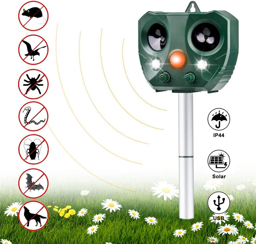 Vannico Power Ultrasonic Animal Repeller, Outdoor Waterproof Cat Fox Dog Scarer Deterrent with 2 Speakers for Garden Yard Field Farm