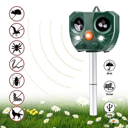 Vannico Ahuyentador de Gatos, ahuyentador de Animales, Repelente a los Rayos ultrasónicos, Impermeable, 5 Modos Ajustables, para Gatos, Perros, ...