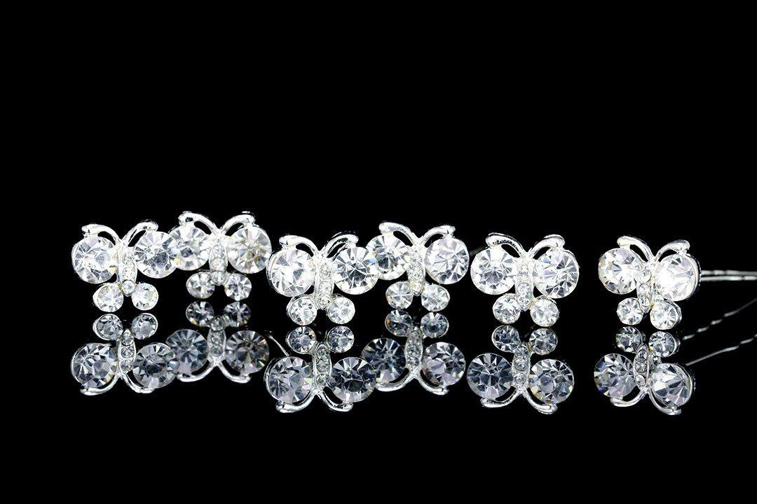 Set of 6 Butterfly Rhinestone Crystal Hair Pins H070