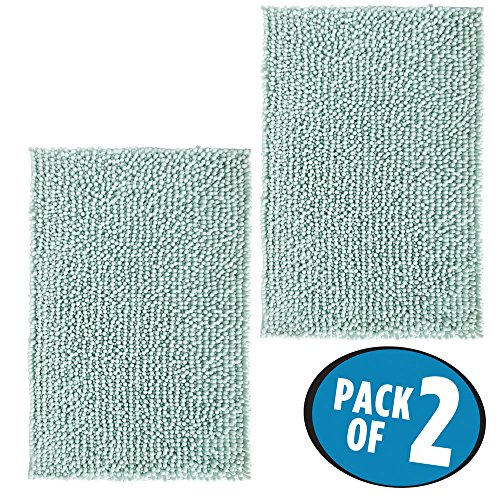 mDesign Soft Microfiber Polyester Non-Slip Rectangular Spa Mat, Plush Water Absorbent Accent Rug for Bathroom Vanity, Bathtub/Shower, Machine Washable - 30'' x 20'' - Pack of 2, Light Aqua Blue by mDesign