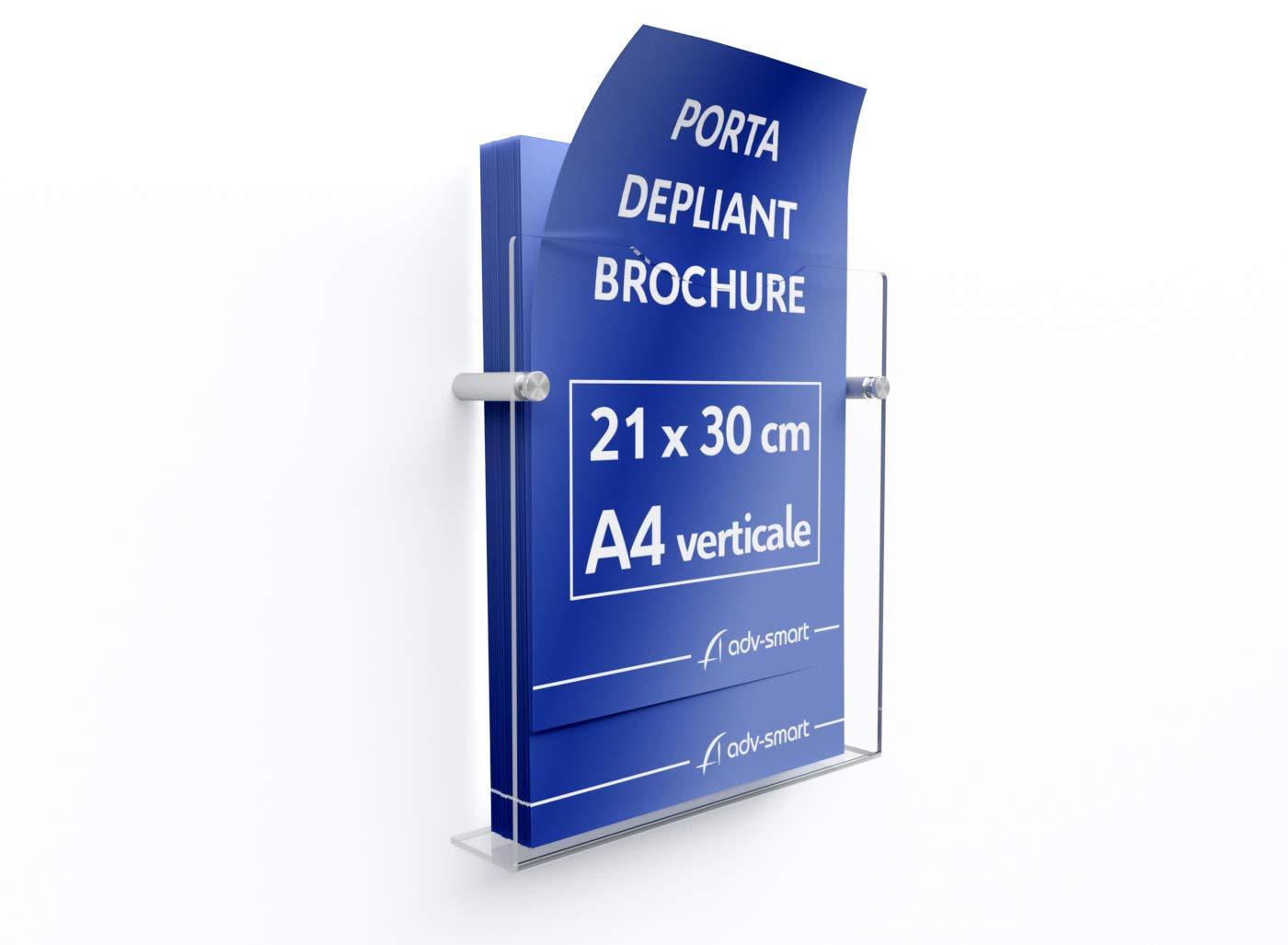 adv-smart Porta Depliant Brochure da parete A4 verticale 21x30 cm Espositore in Plexiglass con fissaggi in acciaio