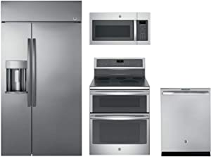 """GE Profile 4-Pcs Kitchen Package with PSB42YSKSS 42"""" Built-In SBS Fridge, PB960SJSS 30"""" Double Oven Elec. Range, JVM6175SKSS 30"""" Microwave and PDT845SSJSS 24"""" Built in Dishwasher in Stainless Steel"""