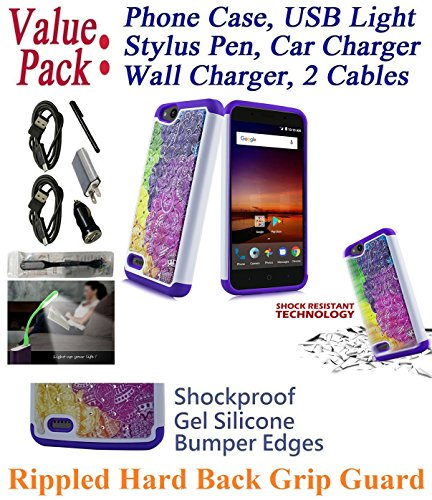 "Value Pack + for 5"" ZTE Avid 4 Tempo X BLADE VANTAGE Case Hybrid Phone Case Shock proof Edge Diamond Rippled Grip Hybrid Slim Bumper Cover (Cotton Candy)"