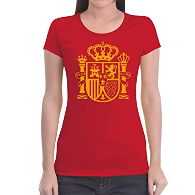 Spanien Wappen Fanartikel Fan-Shirt WM EM Frauen T-Shirt Small Rot