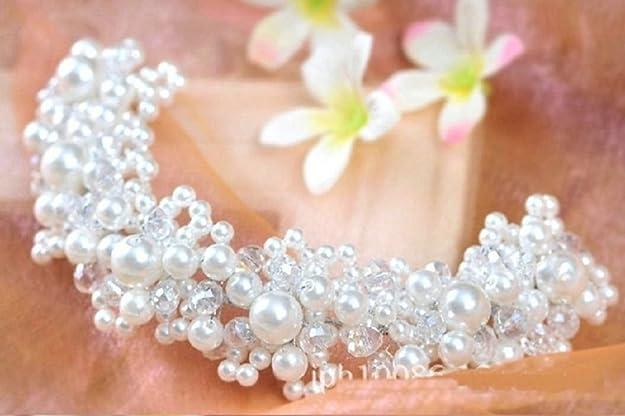 Unbekannt Diad/ème de Mariage avec Perles et Fleurs