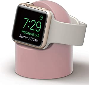 PROATL iWatch Charging Stand with Nightstand Mode, Silicone Charger Dock Holder for Apple Watch Series SE/6/5/4/3/2/1(44/42/40/38mm)?Adapters OR Cables NOT Included?(Pink)