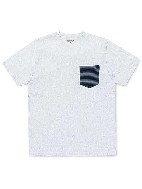 Carhartt I022092 Contrast Pocket T Shirt Grigio Melange Chiaro (L ... 77c5460aa782