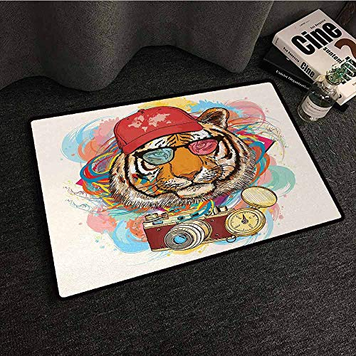 Trapper Mohawk Hat - DILITECK Interesting Doormat Animal Hipster Rapper Tiger with Sunglasses Hat and Camera Artist Hippie Animal Comic Print Quick and Easy to Clean W31 xL47 Multicolor