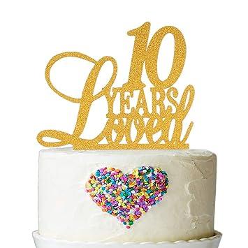 Decoración para tarta de 10 años con purpurina dorada ...