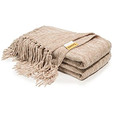 DOZZZ Fluffy Chenille Knitted Throw Blanket with Decorative Fringe and Striped for Couch Cover Sofa Chair Bed Gift Mixed Tan