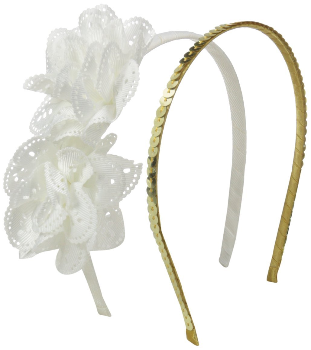 Toby & Company Big Girls Grosgrain Flower Headband Set, White, One Size