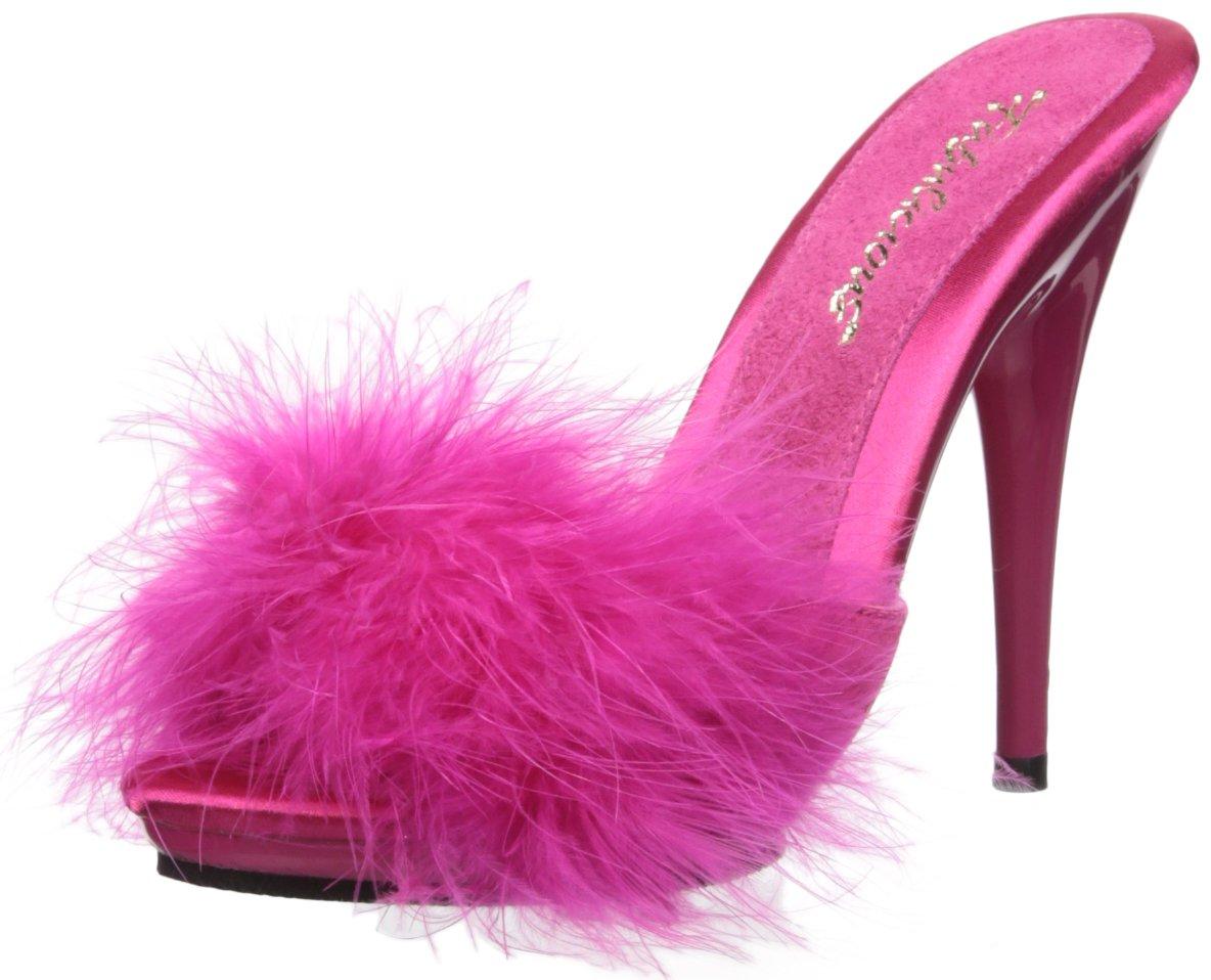 Fabulicious Poise-501f, Sandalia para Mujer 39 EU|H. Pink Satin-marabou Fur/H. Pink
