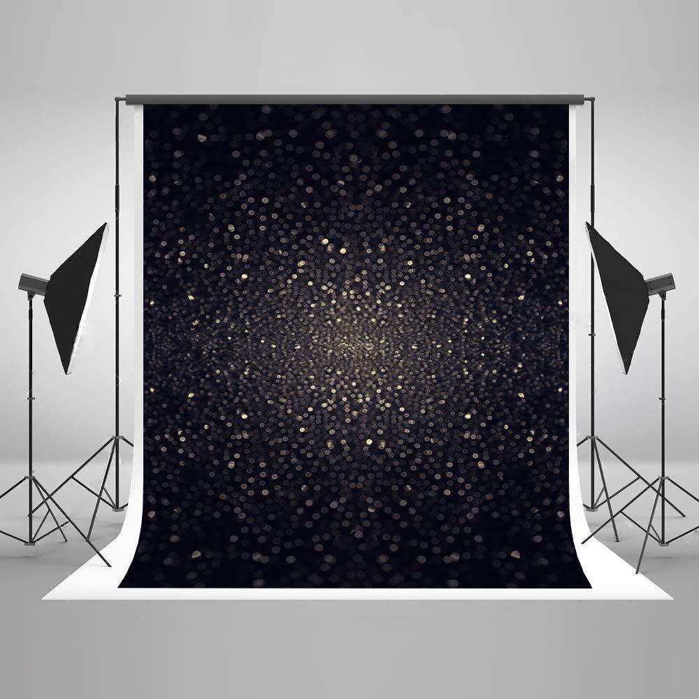 5 x 7フィート ケイトグリッター ブラック 写真撮影用背景幕 シャイニー ブライダル ショー 写真 背景 50周年記念 ブラック シームレス 背景 ポールポケット付き   B07M87336T