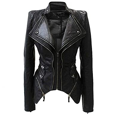 bf193576801f She'sModa Women Studded Faux Leather Jacket Shoulder Pads Spliced Snake  Double Lapels Zipper Dovetail