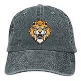 Buecoutes Lion Head Illustration Vintage Cowboy Baseball Caps Trucker Hats Asphalt