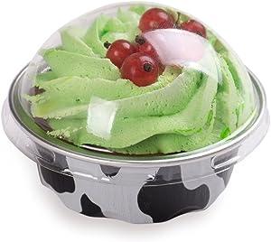 Premium Baking Cups with Lids - 1.7 oz Baking Cups - Round Foil Baking Cups - Cow Print - Oven & Freezer Safe - 100ct Box - Restaurantware