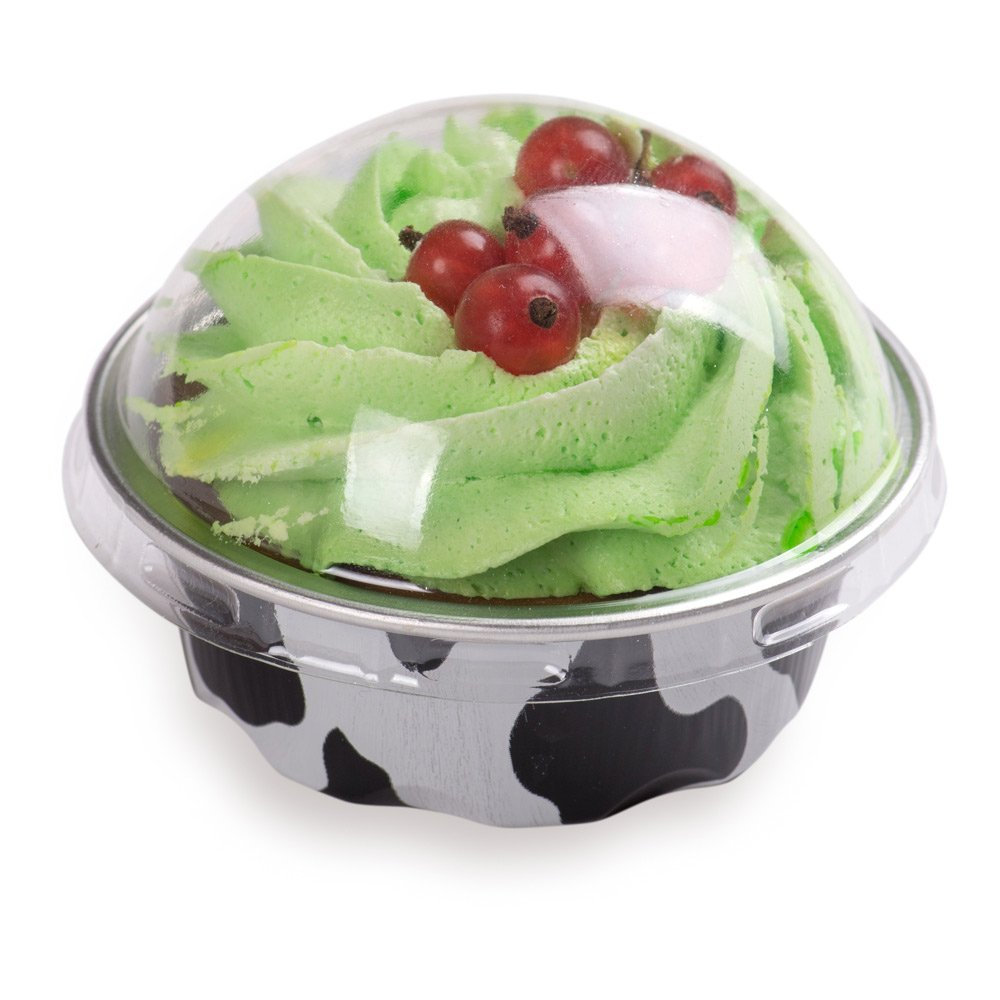 Premium Baking Cups with Lids - 1.7 oz Baking Cups - Round Foil Baking Cups - Cow Print - Oven & Freezer Safe - 100ct Box - Restaurantware