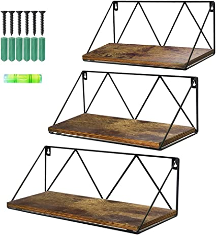 Office Firbon Floating Shelves Wall Mounted Set of 3 Kitchen Bedroom Rustic Metal Wire Grid and Wood Storage Shelves Sturdy Display Racks Home Decoration for Living Room Black Bathroom