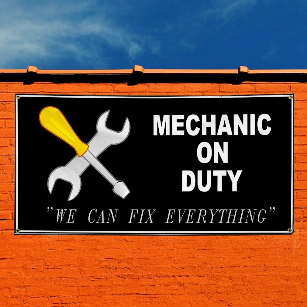 48inx96in Vinyl Banner Sign Mechanic On Duty Black White Automotive Marketing Advertising Black Multiple Sizes Available 8 Grommets One Banner